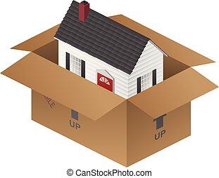 boîte, immobilier, maison, illustration, emballage, vecteur...