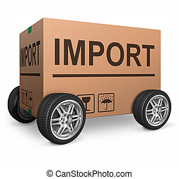 boîte, importation, carton