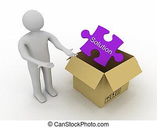 boîte, information, abstraction, solution, apparenté, solutions., conception, illustration, dehors, 3d