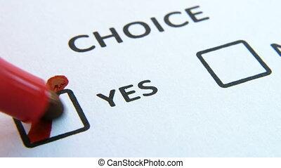 boîte, inscription, papier, faire, sélectionné, choix, personne, oui