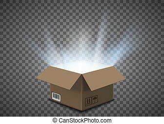 boîte, intérieur, carton, ouvert, vide, lueur
