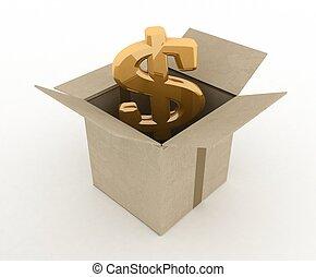 boîte, intérieur, dollar, illustration, signe, carton, 3d