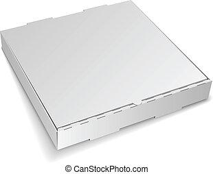 boîte, isolé, arrière-plan., fermé, vide, blanc, carton, pizza