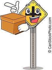 boîte, isolé, caractère, carrefour, signe
