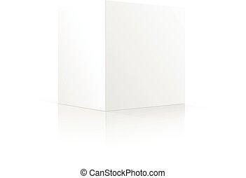 boîte, isolé, illustration, arrière-plan., vecteur, vide, blanc