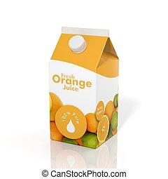 boîte, isolé, jus, fond, orange, blanc, carton, 3d