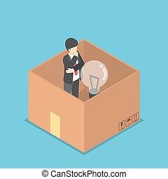 boîte, isométrique, lumière, intérieur, idée, papier, homme affaires, ampoule