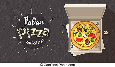 boîte, italien, pizza