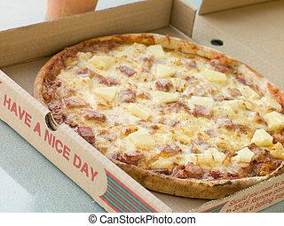 boîte, jambon, loin, prendre, ananas, pizza