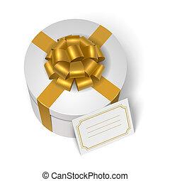 boîte, jaune, arc, présent, mariage, ruban
