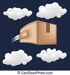 boîte, jet, paquet, concept., livraison rapide, engine.
