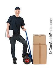 boîte, jeune, isolé, charrette, deliveryman, gai, quoique, boîtes, penchant, il, blanc, moving.