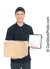 boîte, jeune, isolé, deliveryman., deliveryman, gai, quoique, tenue, blanc, carton