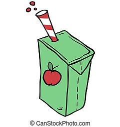 boîte, jus, dessiné, dessin animé, freehand