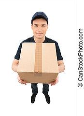 boîte, juste, isolé, sommet, étirage, jeune, deliveryman, gai, quoique, vue, time., blanc, carton, sourire, dehors