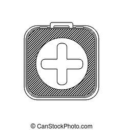 boîte, kit, monochrome, aide, contour, premier