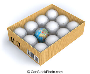 boîte, la terre, sphères