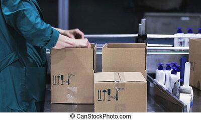 boîte, les, bouteilles, prend, met, convoyeur, ouvrier, ceinture