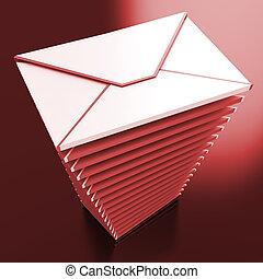 boîte lettres, e-mail, inbox, enveloppes, message, spectacles