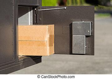 boîte lettres, intérieur, paquet, postal, grand