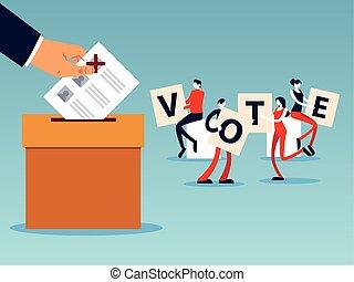 boîte, lettres, main, vote, gens, jour, élection, vote
