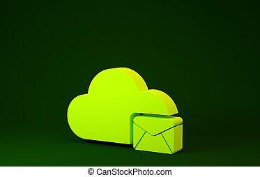 boîte lettres, serveur, vert, signe., 3d, isolé, ligne, icône, nuage, illustration, message, courrier, hosting, render, service., email., concept., minimalisme, arrière-plan., jaune