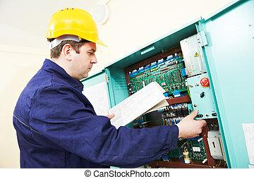 boîte, ligne, électricien, dessin, puissance