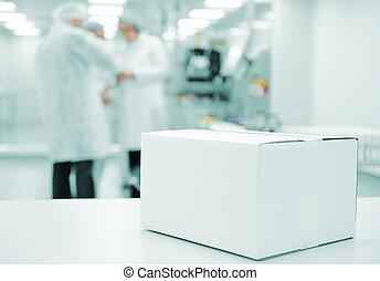 boîte, ligne, moderne, -, logotype, usine, production, automatisé, prêt, blanc, ton