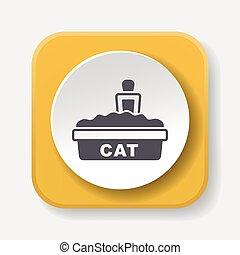 boîte, literie, chat, icône
