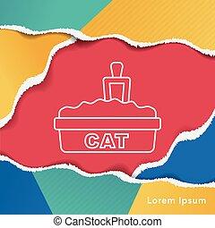 boîte, literie, chat, ligne, icône