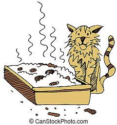 boîte, literie, sale, chat