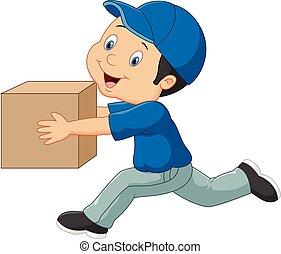 boîte, livraison, dessin animé, tenue, homme