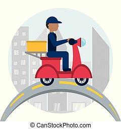 boîte, livraison, motocycle, courrier, paquet