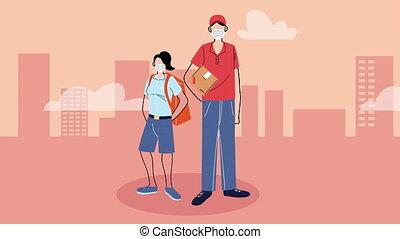 boîte livraison, service, courriers, sac, animation