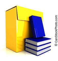 boîte, livres, -, 3d, logiciel