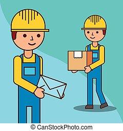 boîte, livreurs, enveloppe, courrier
