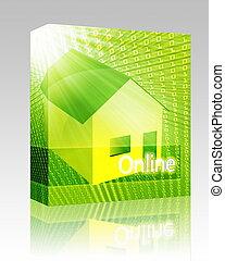 boîte, logement, ligne, paquet