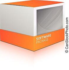 boîte, logiciel, paquet