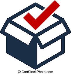 boîte, logo, conception, chèque, icône