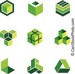 boîte, logos, vert, icônes