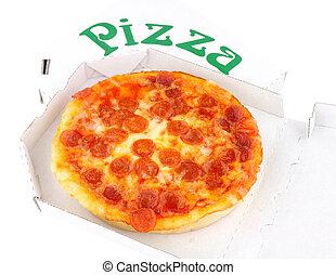 boîte, loin, pepperoni, petit, pizza, prendre