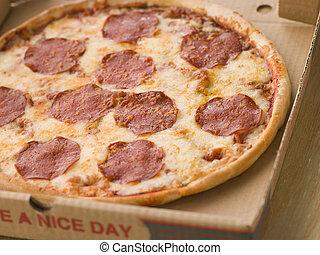 boîte, loin, pepperoni, prendre, pizza