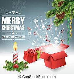 boîte, lumière, clair, ouvert, cadeau