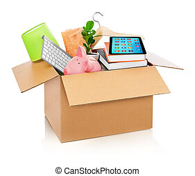 boîte, ménage, entiers, carton, remplir