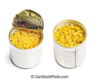 boîte, maïs, cuit