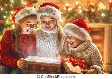 boîte, magie, enfants, cadeau