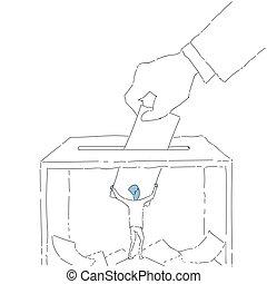 boîte, main, papier, mettre, pendant, vote, vote