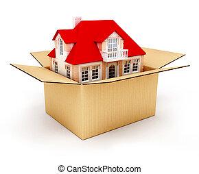 boîte, maison, nouveau