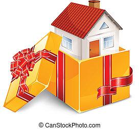boîte, maison, petit, ouvert, arc