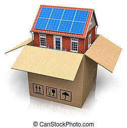 boîte, maison, piles, solaire